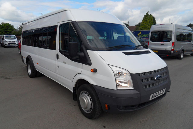 Transit 430 LWB  17 Seat Mini bus  fitted with Tachograph  White  2013  63 reg