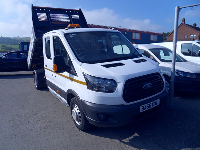 Ford Transit 350 Double cab Tipper, 7 Seats, White, 2017, 66 reg