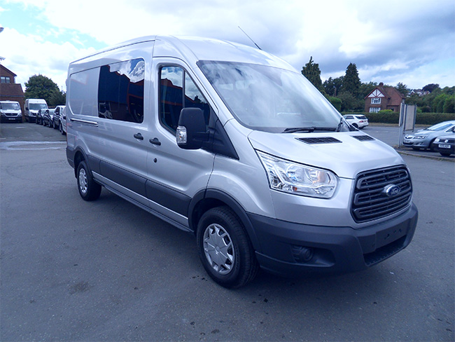 Ford Transit 350 L3, H2, 170PS, Double cab van, Silver, Twin side doors, Air Conditioning,Parking sensors, 6 seats, 2018, 18 reg