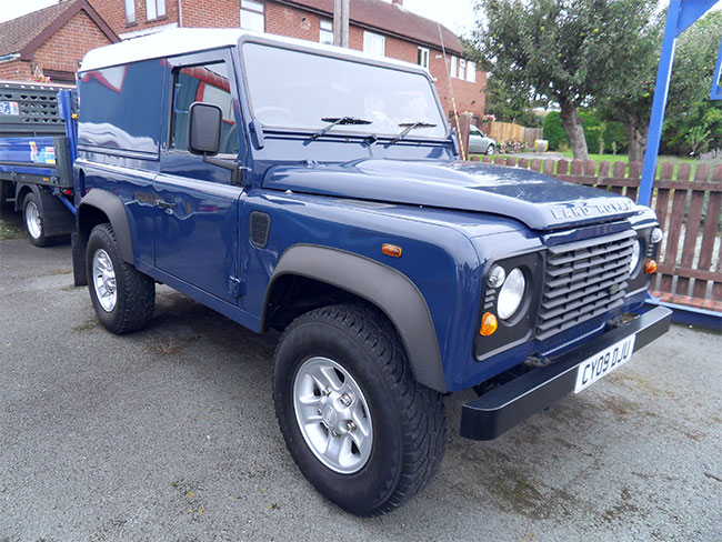 Land Rover Defender 90 TDCI, Hard Top, Blue with Alloy wheels, 2009, 09 reg