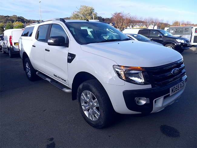 Ford Ranger Wildtrak 3.2 TD Automatic Double cab Pickup, White with colour coded canopy, 2015, 65 reg