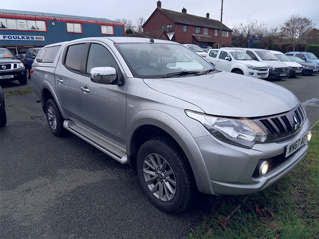 Mitsubishi L200 Titan Double cab Pickup,Silver with colour coded canopy, 2017, 67 reg