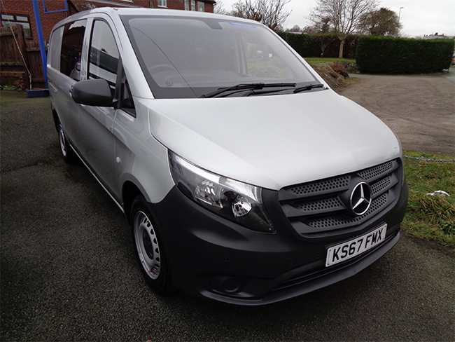 Mercedes Vito 111 CDI LWB Window van, 6 Seats, Silver, 2 Side doors, 2017, 67 reg