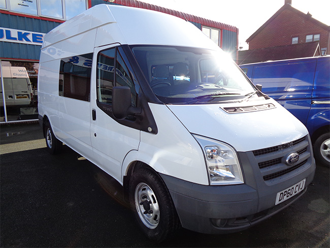 Ford Transit 350 2.4TD, LWB, High roof 9 Seat Van, White, 2011, 60 reg