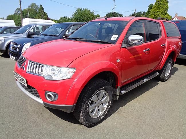 Mitsubishi L200 Trojan 2.5 TD Double cab Pickup,Red with colour coded Canopy, 2013, 63 reg