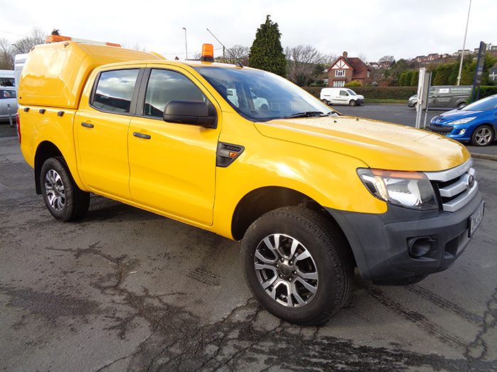 Ford Ranger XL 2.2 TD, Double cab Pickup, Yellow with colour coded canopy and alloy wheels fitted,  2013, 13 reg