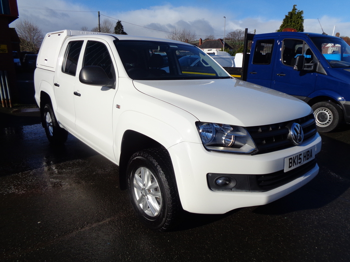 Volkswagen Amarok 2.0 TDI Startline Double cab Pickup, White with colour coded gull wing canopy, ply lining, Tachograph and towbar fitted.2015, 15 reg,
