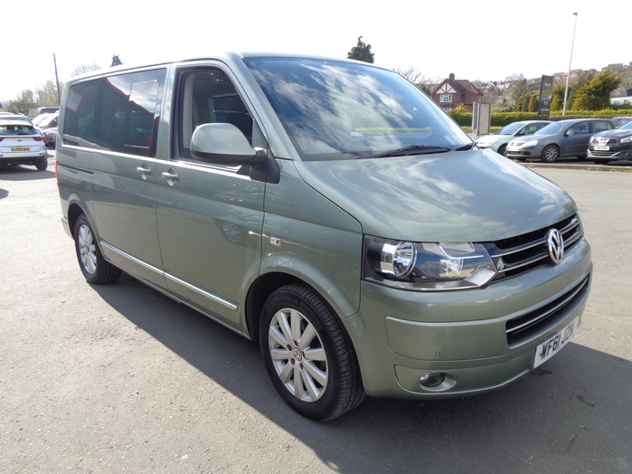 Volkswagen Caravelle Executive TDI 140 Automatic, 6 seat, Green, 2011, 61 reg, Air suspension, Air con