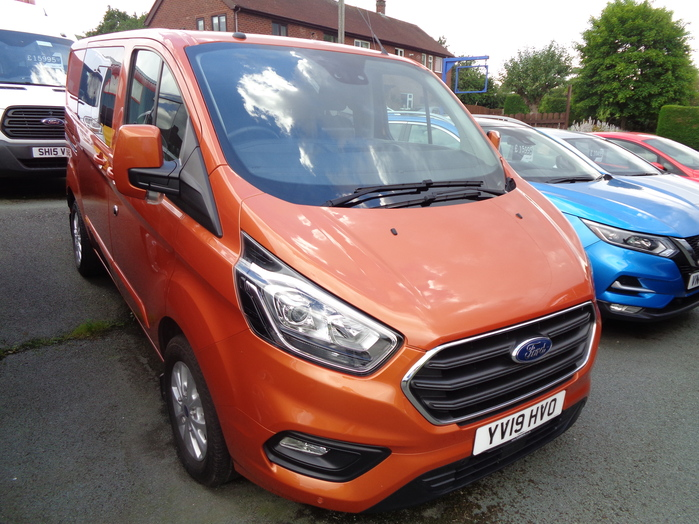 Ford Transit Custom 320 Limited, 130PS, Double cab Van with 2 side doors, Orange, 2019, 19 reg