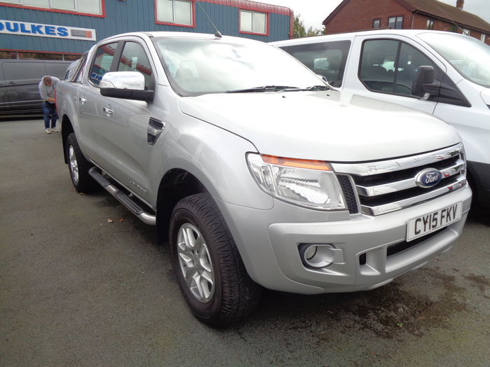 Ford Ranger 2.2 TDCI 150PS, Limited Double cab Pickup. Silver, 2015, 15 reg,