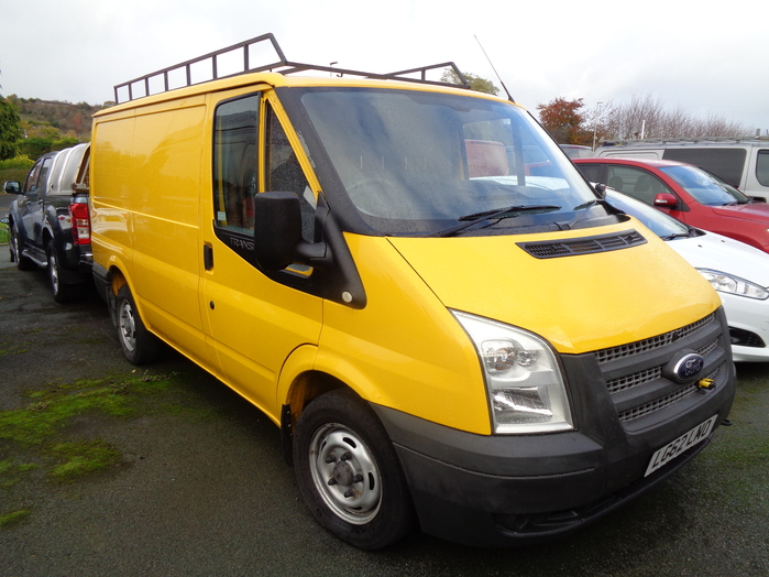 Ford Transit 300 SWB, 125PS Van, Yellow, fitted with Tailgate and roof rack, 2012, 62 reg,