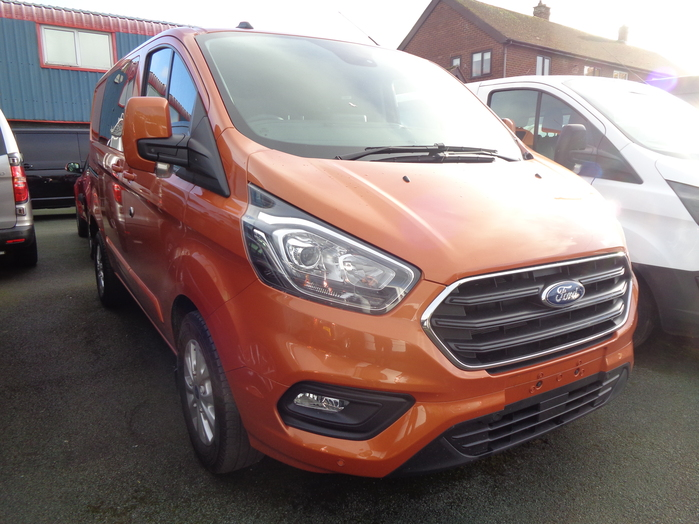 Ford Transit Custom 320,130PS, Limited Double cab van, Orange, 2020, 20 reg,